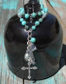 Western Cross Charm Necklace With Earrings $21.99