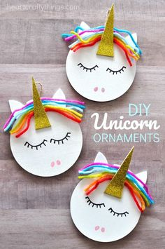 Learn how to make a unicorn Christmas ornament. Fun DIY Christmas ornaments for kids, DIY unicorn ornament and Christmas crafts.