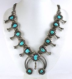 Classic Vintage sterling silver Turquoise Squash Blossom Necklace
