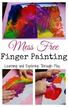 Mess Free Finger Painting. Painting Techniques for Kids. Learning and Exploring Through Play.