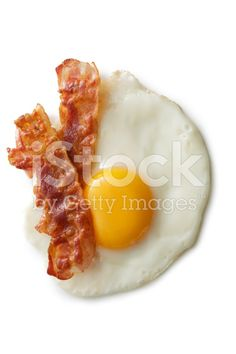 Eggs: Fried Egg and Bacon Isolated on White Background royalty-free stock photo