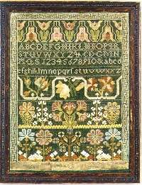 "Unsigned sampler with an Ayer's family provenance. Silk on linen; 15 ¼"" x 11 ½"". Norwich, Connecticut."