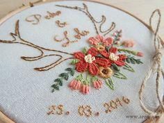 Wedding Art Embroidery Hoop. Ring Holder. Porta Alianzas Bastidor bordado a mano.