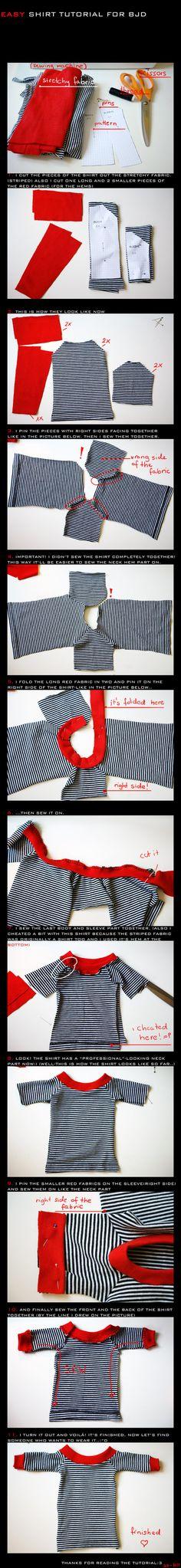BJD shirt - TUTORIAL el patrón distinto pero la misma técnica , aunque no es la que yo utilizo
