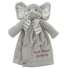 Enchant your little one with this cute-as-a-button plush elephant blanket that delivers sweet blessings for your baby! Stitched personalized blessing is featured below a simple cross.