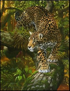 Into Infinity - jaguar painting by Al Agnew