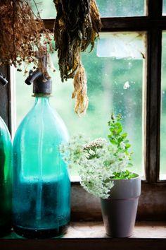 Light, through a window, through a blue-green bottle... Image Via: Cannelle et Vanille