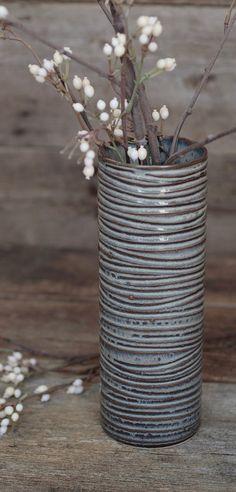 Wave Cylinder Vase click now for more info. Hand Built Pottery, Slab Pottery, Pottery Bowls, Ceramic Pottery, Coiled Pottery, Thrown Pottery, Ceramic Decor, Ceramic Vase, Ceramic Pinch Pots