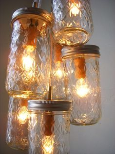 Dazzling Diamonds Mason Jar Chandelier - Mason Jar Light Pint Sized Quilted Ball Swag Light - Upcycled Rustic Eco Friendly BootsNGus Design