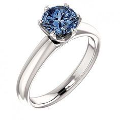 3.01 Carat Halo Blue Round Diamond Solitaire #Ring White Gold 14K #Jewelry