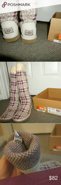 Authentic Plaid Knit Purple and Cream UGGs Kick off the fall season with these amazing boots!  They are super durable in any amount of snow!  They will keep your feet warmer than any other brand of boot!  They have been gently used with but still have tons of life left in them!  Let me know if you would like more pictures!  ? UGG Shoes Winter & Rain Boots