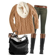 Black Brown colorblock riding boots, Army Green skinnies, Tan cableknit sweater - White infinity scarf, Brown belt, Black shoulderbag   30 Warm And Cozy Polyvore Combinations For The Winter