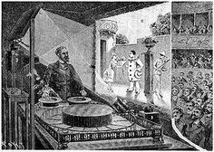 Praxinoscope: a pre-cinematic device. The device uses a strip of pictures around the spinning cylinder, and mirrors near the viewing slit to create an animation.
