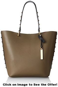 Vince Camuto Evie Travel Tote, Truffle/Black, One Size
