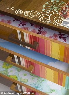 cute contact paper for inside of dresser drawers!