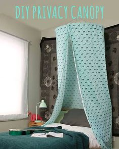 This DIY privacy canopy is so simple to make with a large bed sheet, hula hoop…