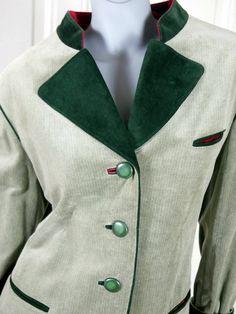 Green Velvet Jacket. Two-Tone Green Traditional Bavarian Trachten Jacket, Walking Jacket, Octoberfest, German Festival: Size 14 US, 18 UK by YouLookAmazing on Etsy