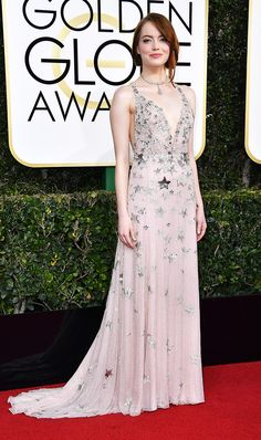 Golden Globes 2017:  WHO: Emma Stone WEAR: Valentino Haute Couture custom gown; Jimmy Choo Minny Sandals.