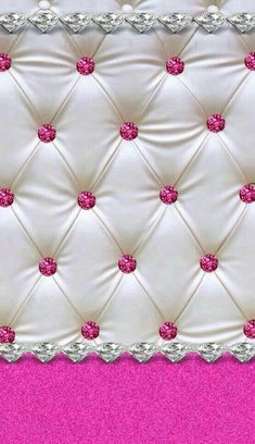 White tufted satin & pink glitter buttons phone background/wallpaper/homescreen