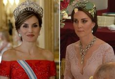 Queen Letizia and Kate, Duchess of Cambridge on the state banquet/ July 12, 2017