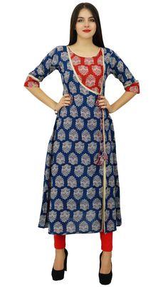 Bimba Womens Designer Indian Clothing Angrakha Style Cotton Kurta Kurti Formal