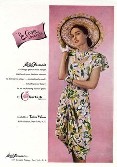 Take a gander at this Jo Carm Creation from 1947 - the neckline detailing and gathered hem are especially awesome.