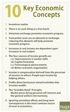 Key economics concepts: incentives matter, there is no such thing as a free lunch, economic errors are caused by ignoring secondary consequences and long term effects, etc.