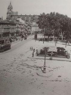 Eje Alameda-Parque. La foto nos deja ver las huellas de la nevada de Febrero de 1954 en  Málaga, Spain.