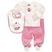 Little Me Baby Set, Baby Girls Cupcake 3-Piece Bib, Shirt and Footed Pants