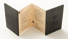 Gossip Menu by Grafix Design Studio Drink Menu Design, Restaurant Menu Design, Restaurant Branding, Menu Layout, Brochure Layout, Brochure Design, Menue Design, Spa Menu, Food Menu Template