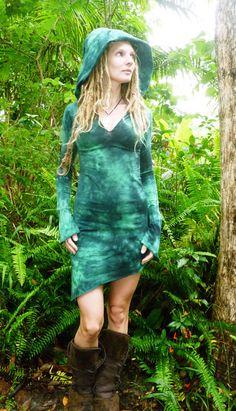 Mini Pixie Dress Goddess Hemp Lycra Hoodie Long by Wyldeskye