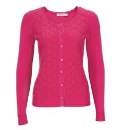 Lace Front Cardigan in Pink (more colours available!) . Sizes XS to XXL . Available exclusively at www.rickis.com #rickis #spring2014