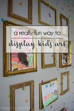 a fun way to display kids art in empty frames
