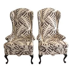 Image of Quadrille Fabric Wingback Chairs - A Pair