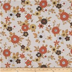 Kaufman Lennox Gardens Cotton Lawn Small Floral Tan  $10.98 yd.  100% cotton  very light wt.   Item Number 0344699