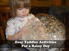 Easy Toddler Activities: Indoor Bubbles. Only requires 4 supplies that you already have in your kitchen!