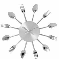 EAT O´CLOCK Nástěnné hodiny Příbory ø38cm / kitchen wall clock Butler, Oclock, Aluminium, Flatware, Spoon, Office Supplies, Eat, Tableware, Kitchen