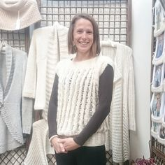 Natalie has made the Devon Top in Purl Alpaca Designs' ivory yarn. It looks fab on her!