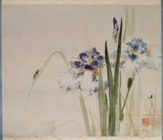 Irises with Beetle (July) by Watanabe Seitei from his Birds and Flowers of the Four Seasons series (#7 of 12 paintings).