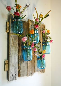 Blue Unique large wall piece with Painted Mason Jars wall decor