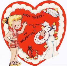 F119-WWII Navy WAVE Girl Paper Doll-Vintage Die-Cut Valentine Card (02/05/2012)