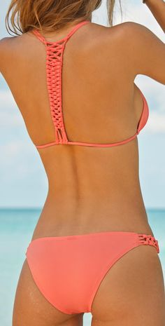 L Space Macrame Pink Bikini | Southbeachswimsuits. LOVE the back detail!