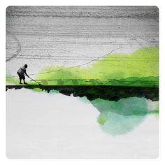 Trace (Landscape Photography - Fine Art Print - Beach - Silhouette - Watercolor Paints - Black and white - Green)