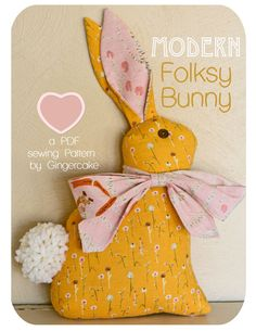 Bunny Pillow Sewing PAttern Modern Folksy Bunny PDF by ginia18, $6.00