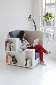 Armchair with built-in storage - I want this in a corner, I love small comfy corners