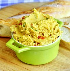 Curry Spiced Roasted Red Pepper Hummus - healthy and delicious, this mildly spiced but beautifully flavourful hummus is a kid favourite at our house, even as hummus sandwiches for lunches.
