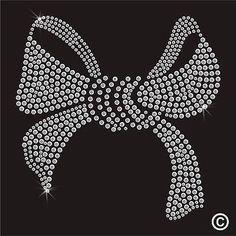Large Bow Rhinestone Diamante Transfer Iron On Hotfix Gem Crystal Motif Applique: