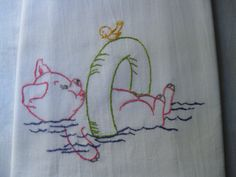 Porky Pig and Tweety Bird having Fun with the Inne Tube in the Pool Hand Embroidered Flour Sack Tea Towel