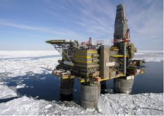 Shell Oil points out that drilling in icy waters isn't new. Pictured is Lunskoye A in sea ice, one of two platforms in the (Russian: oil and gas development project in Sakhalin Island, Russia. It was installed in Oil Rig Jobs, Oilfield Trash, Petroleum Engineering, Top 15, Oil Refinery, Drilling Rig, Big Oil, Oil Industry, Tug Boats