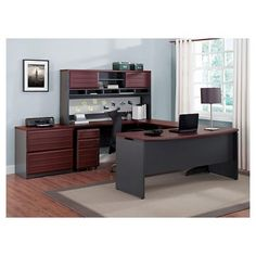 Pursuit U-Shaped Desk with Hutch Bundle - Cherry (Red)/Gray - Ameriwood Home